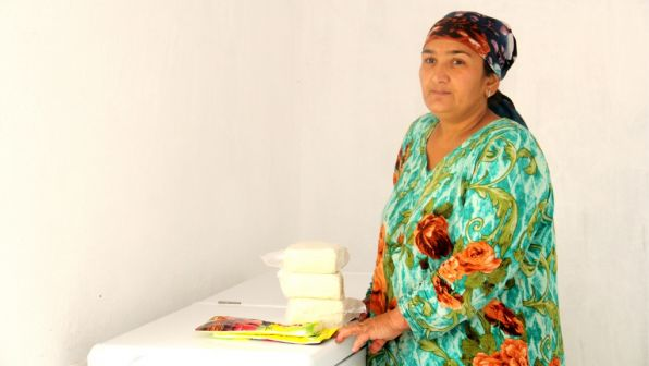 Saida Rajabova makes home-made cheese.