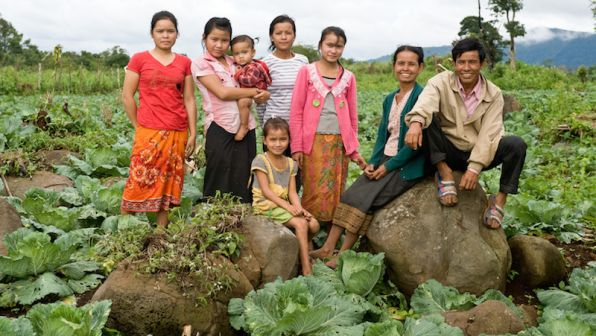 A family of farmers in Lao PDR.