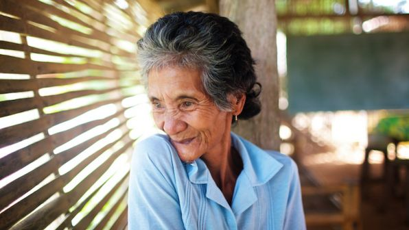 An elderly woman in the Philippines.