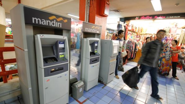 ATMs in a shopping center in Jakarta, Indonesia.
