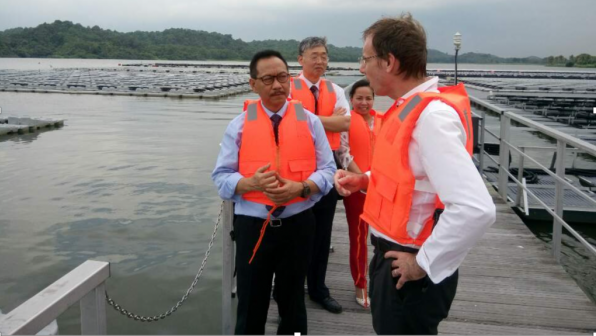 Thomas Reindl, the Deputy Chief Executive Officer of SERIS and Principal Research Fellow at the National University of Singapore (front), giving me and my ADB colleagues a tour of the 1-hectare facility at the Tengeh Reservoir in Tuas, Singapore, in late October.