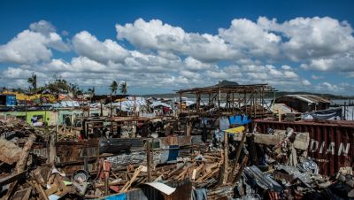 Devastation caused by Typhoon Haiyan, which struck the Philippines in November 2013.