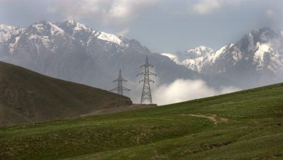 Electrical power transmission lines in the Hindu Kush.