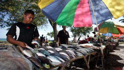 Vendors selling fish in Dili, Timor-Leste.