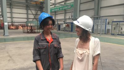 Larissa (right) with the author at the factory.
