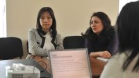 Women at a business meeting in the Kyrgyz Republic.